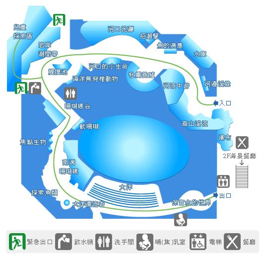 從高山到海洋 小水滴的旅行…  此圖為台灣水域館的平面配置圖,圖中包含了參觀動線、展區介紹以及設施分佈圖(如緊急出口、飲水機、洗手間、哺(集)乳室、電梯及餐廳)。 台灣四面環海,擁有美麗而多樣的自然景觀。本館以從山到海的展示方式,生態景觀完全模擬實地景象,入口取景為谷關龍古瀑布,由此引領遊客,從高山上匯集融雪、雨水而成的小溪,順流而下,沖刷切割河床,挾帶各種物質,逐漸堆積到平緩的中下游,最後蜿蜒流入大海,藉著小水滴的旅行訴說著台灣河川到海洋生態的多樣性。