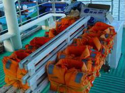 賞鯨船上的救生設備不可少(林永銘 攝影)
