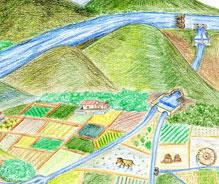 灌溉道引流示意圖  (陳元憲 繪圖)