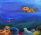 人類將垃圾傾倒在海岸,垃圾會隨著雨水流到海底,不但造成海洋環境的破壞,也減少許多底棲動物棲息的空間(吳松霖 繪圖)。