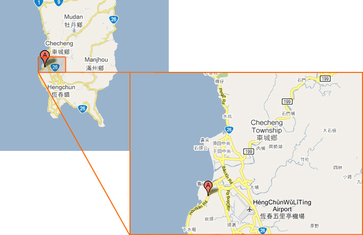 Map Description:This figure shows the location of NMMBA in Taiwan and Henchun Peninsula, respectively